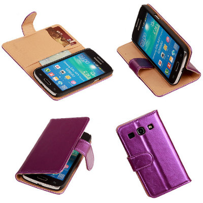 PU Leder Lila Hoesje voor Samsung Galaxy Core Plus Book/Wallet Case/Cover