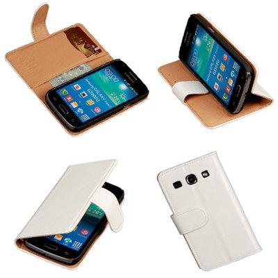 PU Leder Wit Samsung Galaxy Core Plus Book/Wallet Case/Cover Hoesje