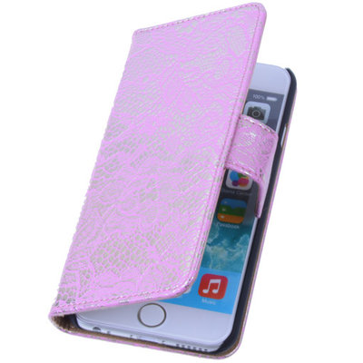 Lace Pink iPhone 5 5s Book/Wallet Case/Cover Hoesje