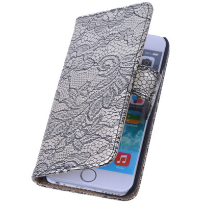 Lace Zwart iPhone 5 5s Book/Wallet Case/Cover Hoesje