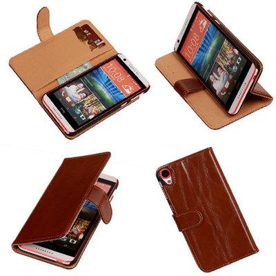 PU Leder Bruin Hoesje voor HTC Desire 820 Book/Wallet Case/Cover