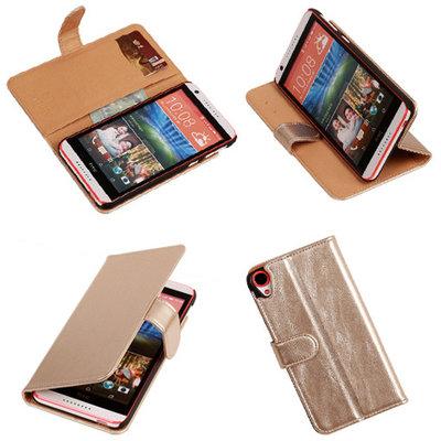 PU Leder Goud Hoesje voor HTC Desire 820 Book/Wallet Case/Cover