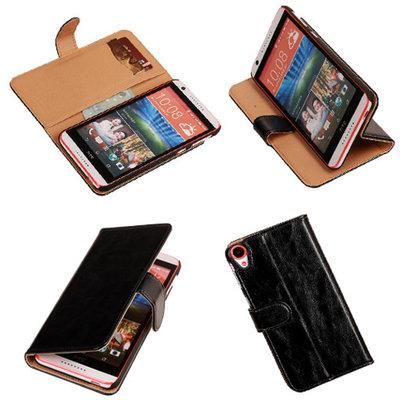PU Leder Zwart Hoesje voor HTC Desire 820 Book/Wallet Case/Cover
