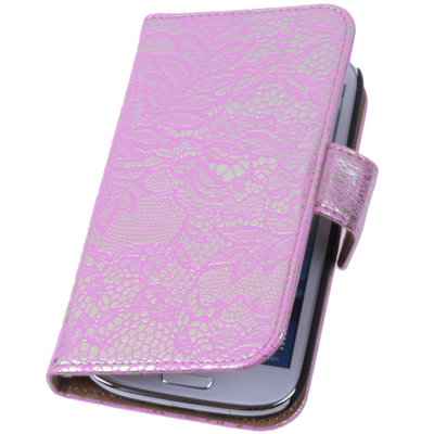 Lace Pink Hoesje voor Samsung Galaxy S4 Mini Book/Wallet Case/Cover