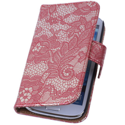 Lace Rood Samsung Galaxy S4 Mini Book/Wallet Case/Cover Hoesje