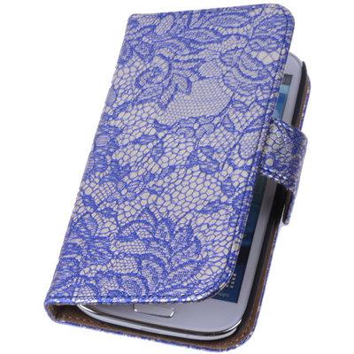Lace Blauw Samsung Galaxy S4 Mini Book/Wallet Case/Cover Hoesje