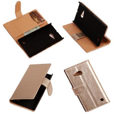 PU Leder Goud Hoesje voor Nokia Lumia 735 Book/Wallet Case/Cover