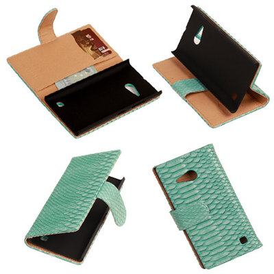 BC Slang Turquoise Hoesje voor Nokia Lumia 735 Bookcase Wallet Cover
