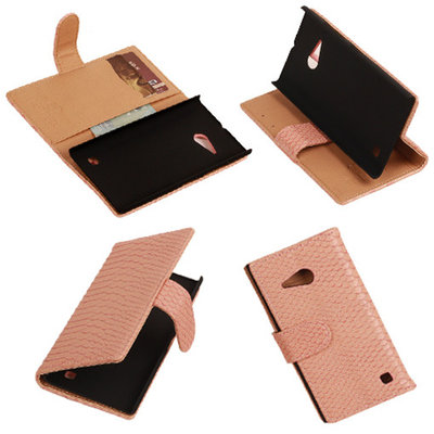 BC Slang Pink Hoesje voor Nokia Lumia 735 Bookcase Wallet Cover