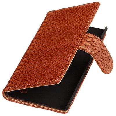 Slang Bruin Hoesje voor Nokia Lumia 735 Bookcase Wallet Cover