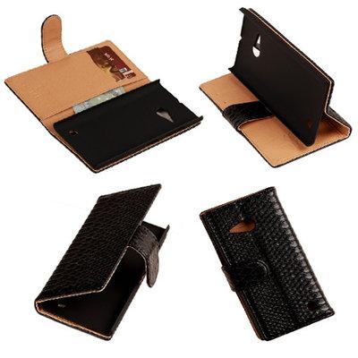 "BC ""Slang"" Zwart Nokia Lumia 735 Bookcase Wallet Cover Hoesje"