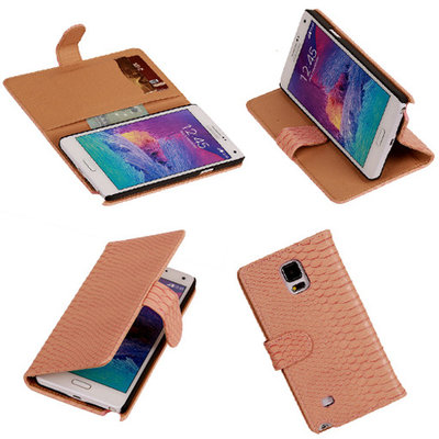 BC Slang Pink Hoesje voor Samsung Galaxy Note 4 Bookcase Cover