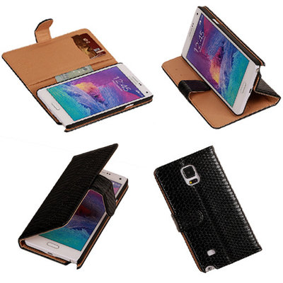 BC Slang Zwart Hoesje voor Samsung Galaxy Note 4 Bookcase Cover