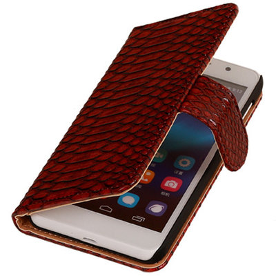 BC Slang Rood Hoesje voor Huawei Ascend G7 Bookcase Cover