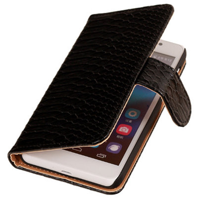 BC Slang Zwart Hoesje voor Huawei Ascend G7 Bookcase Cover