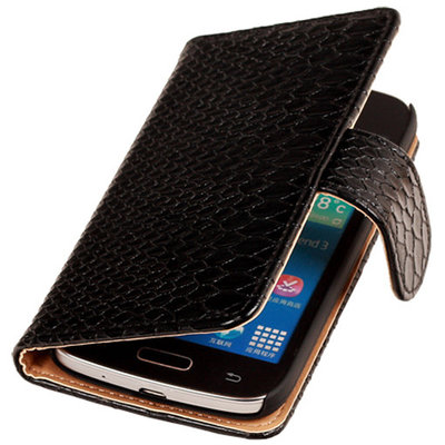 BC Slang Zwart Samsung Galaxy Young 2 Bookcase Cover Hoesje