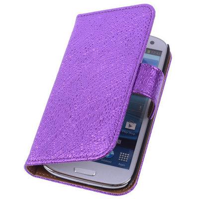 Glamour Purple Hoesje voor Samsung Galaxy S5 (Plus) Echt Leer Wallet Case