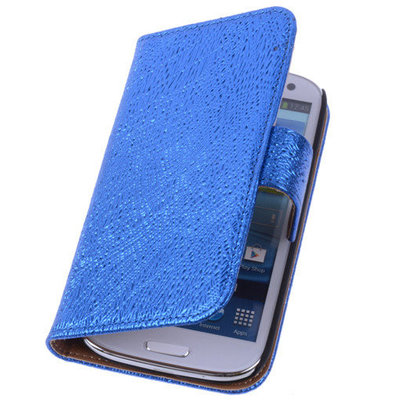 Glamour Blue Hoesje voor Samsung Galaxy S5 (Plus) Echt Leer Wallet Case