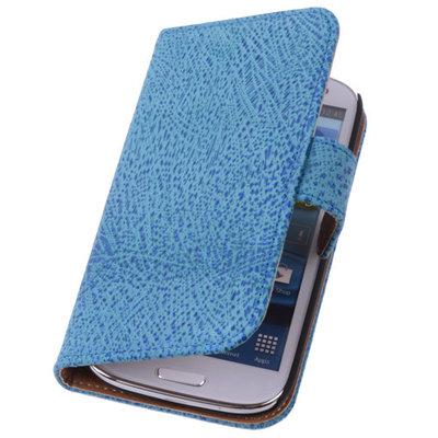 Antiek Blue Samsung Galaxy S5 (Plus) Echt Leer Wallet Case Hoesje