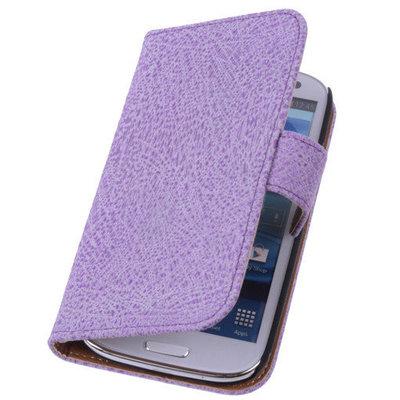 Antiek Purple Hoesje voor Samsung Galaxy S5 (Plus) Echt Leer Wallet Case