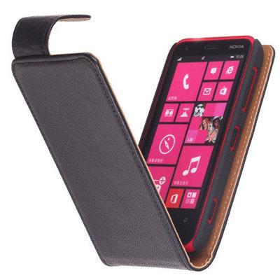 Zwart Hoesje voor Nokia Lumia 630 Kreukelleer Flip Case/Cover