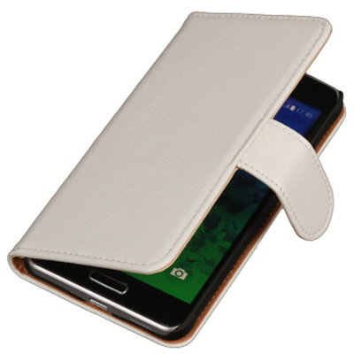 PU Leder Wit Hoesje voor Samsung Galaxy S2 Plus Book/Wallet Case/Cover