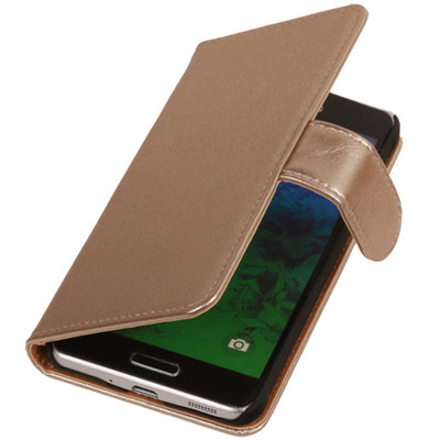 PU Leder Goud Hoesje voor Samsung Galaxy S2 Plus Book/Wallet Case/Cover