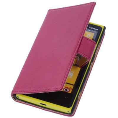 Fuchsia Nokia Lumia 735 Echt Lederen Wallet Hoesje
