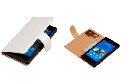 PU Leder Wit Sony Xperia E3 Book/Wallet Case/Cover