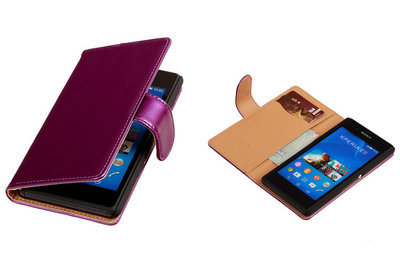 PU Leder Lila Sony Xperia E3 Book/Wallet Case/Cover