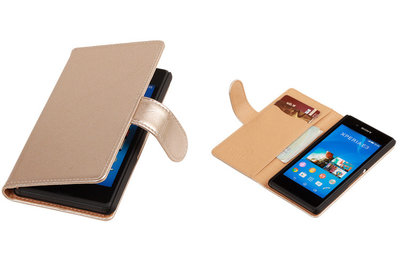 PU Leder Goud Sony Xperia E3 Book/Wallet Case/Cover