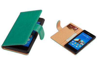 PU Leder Groen Sony Xperia E3 Book/Wallet Case/Cover