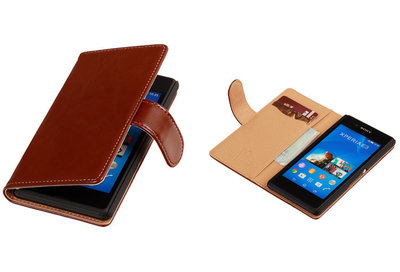 PU Leder Bruin Sony Xperia E3 Book/Wallet Case/Cover