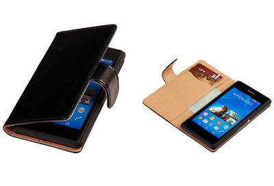 PU Leder Zwart Sony Xperia E3 Book/Wallet Case/Cover
