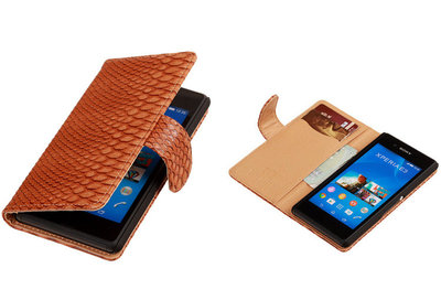 """BC """"Slang"""" Bruin Hoesje voor Sony Xperia E3 Bookcase Wallet Cover"""