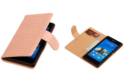 """BC """"Slang"""" Pink Hoesje voor Sony Xperia E3 Bookcase Wallet Cover"""