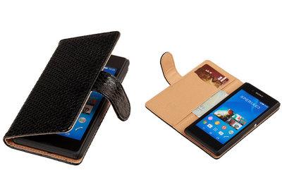 "BC ""Slang"" Zwart Hoesje voor Sony Xperia E3 Bookcase Wallet Cover"