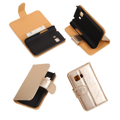 PU Leder Goud Hoesje voor Samsung Galaxy Young 2 Book/Wallet Case/Cover