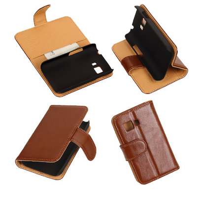 PU Leder Bruin Hoesje voor Samsung Galaxy Young 2 Book/Wallet Case/Cover