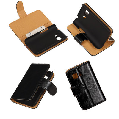 PU Leder Zwart Samsung Galaxy Young 2 Book/Wallet Case/Cover