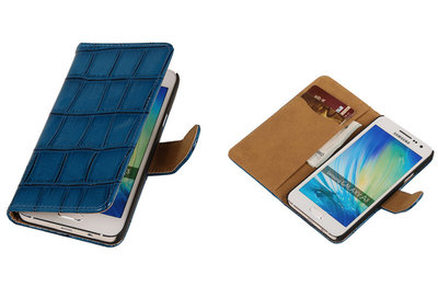 Blauw Croco Hoesje voor Samsung Galaxy A3 2015 Book/Wallet Case/Cover