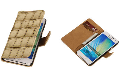 Beige Croco Hoesje voor Samsung Galaxy A3 2015 Book/Wallet Case/Cover