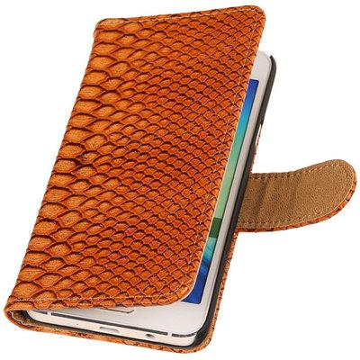 Bruin Slang Hoesje voor Samsung Galaxy A5 2015 Bookcase Cover