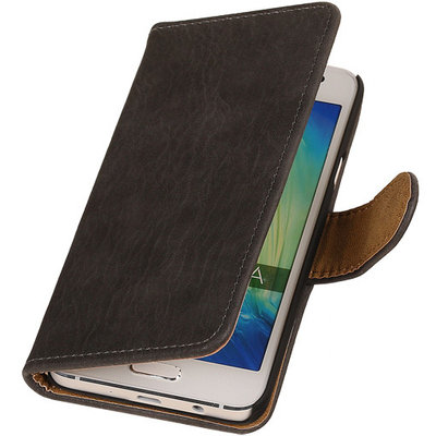 Grijs Hout Hoesje voor Samsung Galaxy Grand Prime Book/Wallet Case/Cover