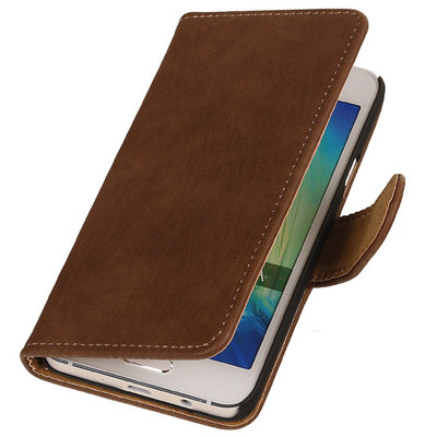 Bruin Hout Hoesje voor Samsung Galaxy Grand Prime Book/Wallet Case/Cover