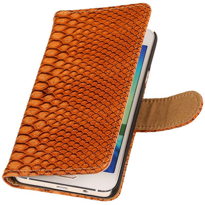 Bruin Slang Hoesje voor Samsung Galaxy Grand Prime Book/Wallet Case/Cover