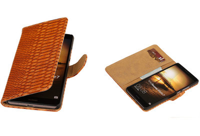 Bruin Slang Hoesje voor Huawei Ascend Mate 7 Book/Wallet Case/Cover