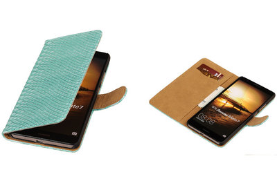 Turquoise Slang Hoesje voor Huawei Ascend Mate 7 Book/Wallet Case/Cover