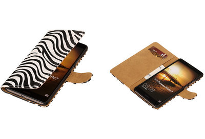 Zebra Hoesje voor Huawei Ascend Mate 7 Book/Wallet Case/Cover