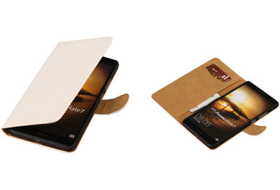 Wit Hoesje voor Huawei Ascend Mate 7 Book/Wallet Case/Cover